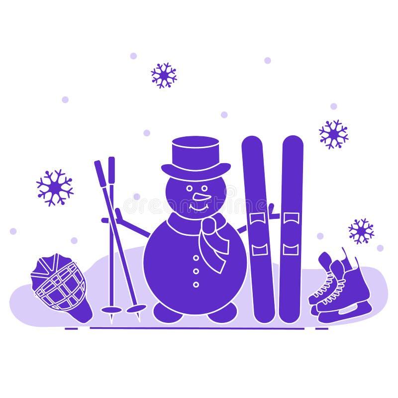 Bałwan z narciarskim i hokejowym wyposażeniem ilustracji