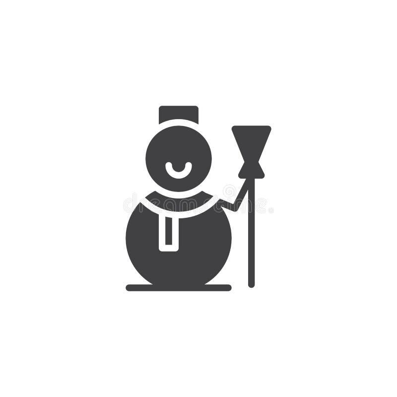 Bałwan z szalika i miotły ikony wektorem ilustracja wektor