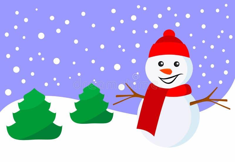 Bałwanu i nowego roku zimy krajobraz animacja również zwrócić corel ilustracji wektora royalty ilustracja