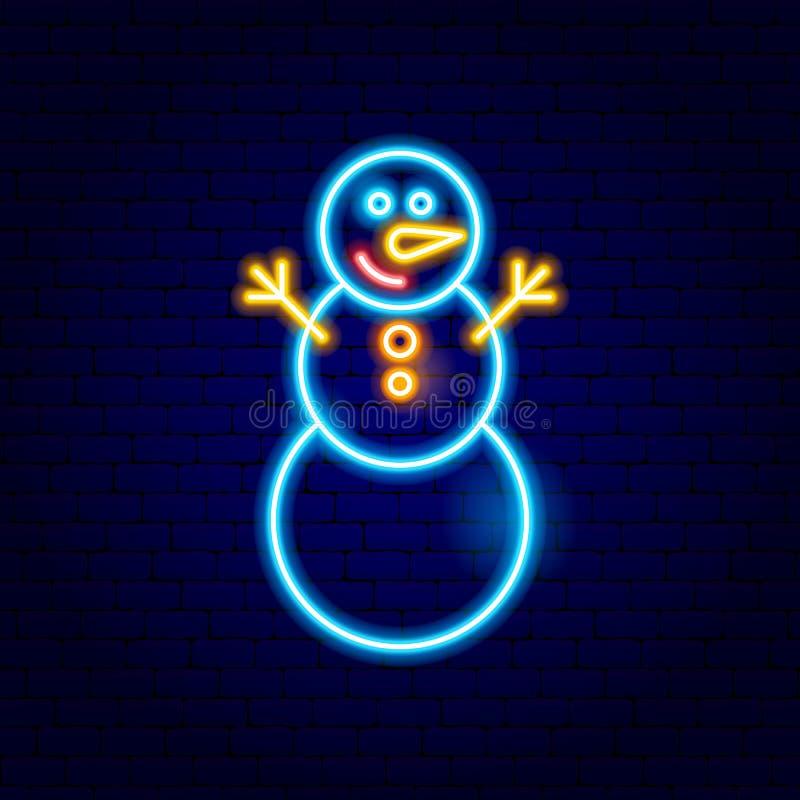 Bałwanu Neonowy znak ilustracji