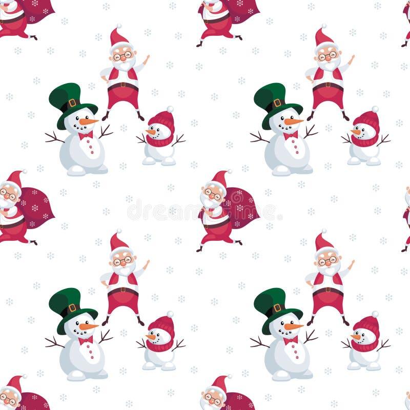 Bałwany i Santa wzór ilustracji