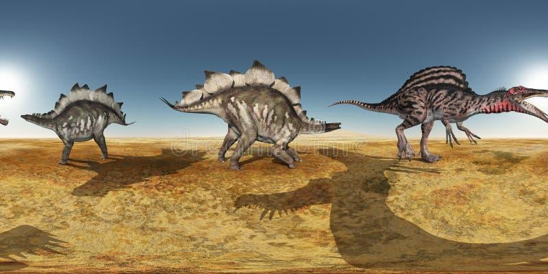 Bańczaści 360 stopni bezszwowej panoramy z dinosaura Spinosaurus w pustyni i stegozaurem royalty ilustracja