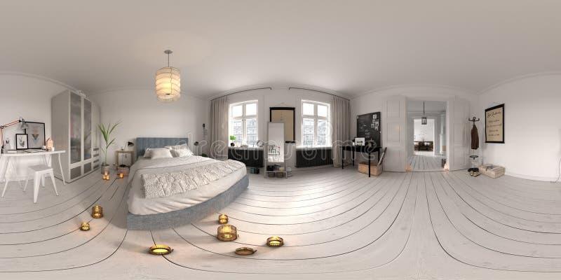 Bańczastej panoramy projekcyjnej sypialni 360 3D wewnętrzny rendering royalty ilustracja