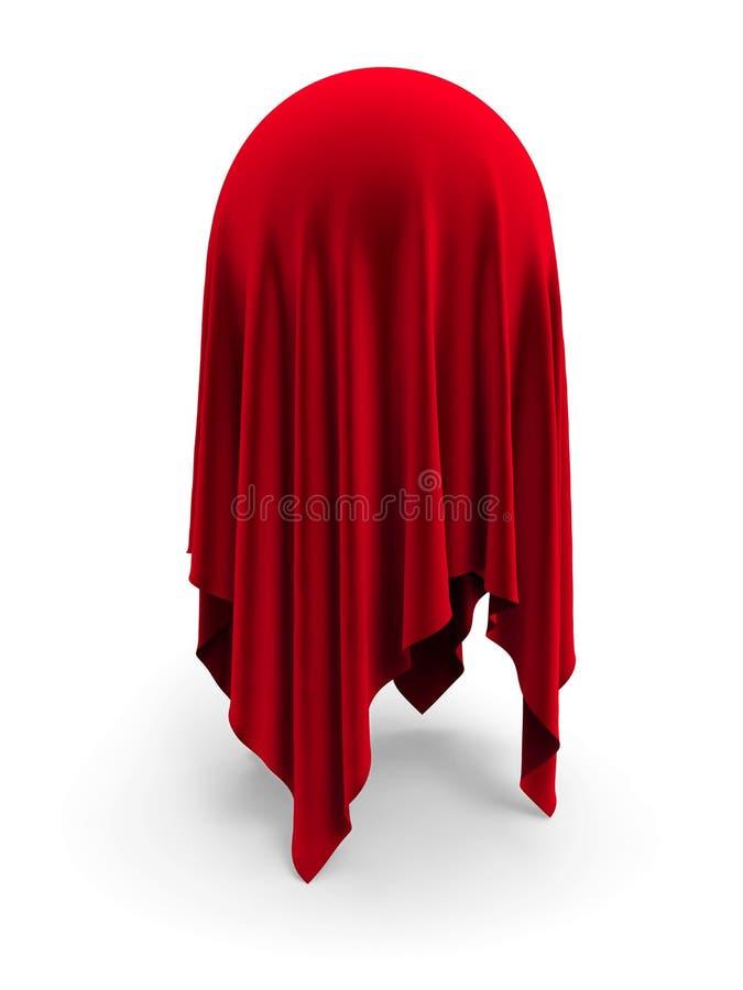 Bańczasty przedmiot zakrywający z czerwoną aksamitną draperią ilustracji