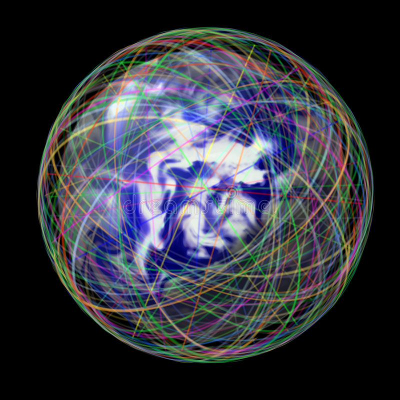 bańka globalnej orbita ilustracja wektor