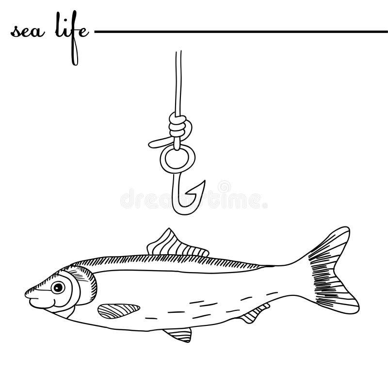 bańka kopii ryby morskie życie ilustracyjnego wodorosty są rozmieszczone tekstu wektora Połowu haczyk i śledź Oryginalna ręka rys royalty ilustracja