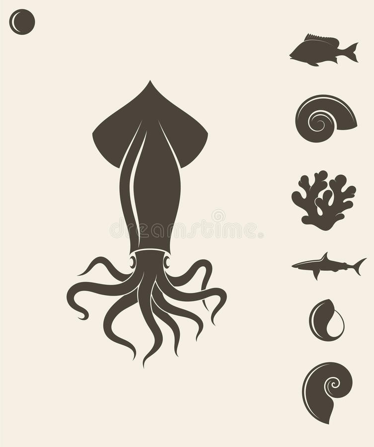 bańka kopii ryby morskie życie ilustracyjnego wodorosty są rozmieszczone tekstu wektora Set royalty ilustracja