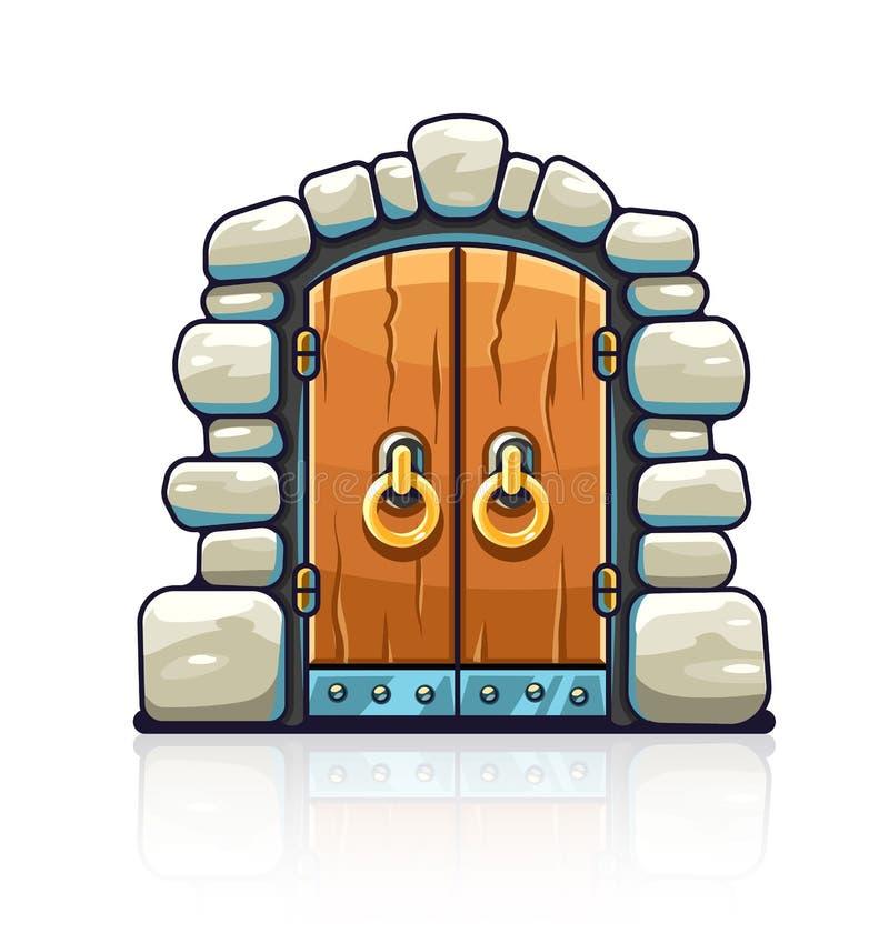 Baśniowy drzwi z złotymi rękojeściami wejściowymi ilustracji