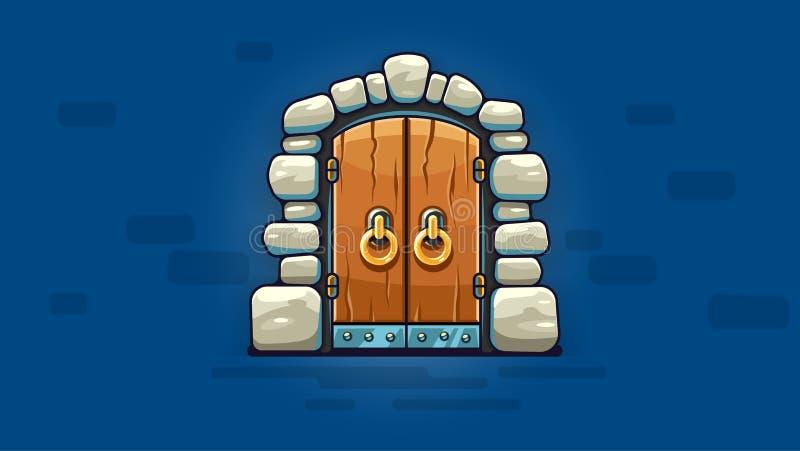 Baśniowy drzwi z złotymi rękojeściami wejściowymi również zwrócić corel ilustracji wektora royalty ilustracja