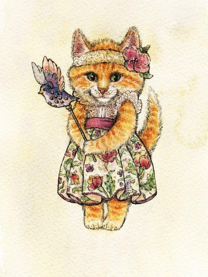 Baśniowy kot z zielonymi oczami w pięknej sukni z kwiatami i obręczu z kwiatem na jej głowie stoi samotnie na światła bac ilustracji