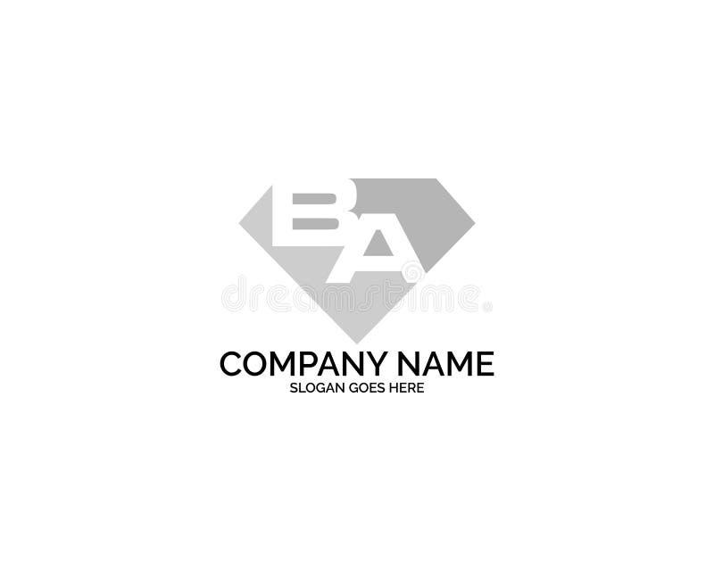 BA Anfangsbuchstaben Logo Design mit Diamond Shape für Schmuck-unternehmenseigenes Ladengeschäft stock abbildung