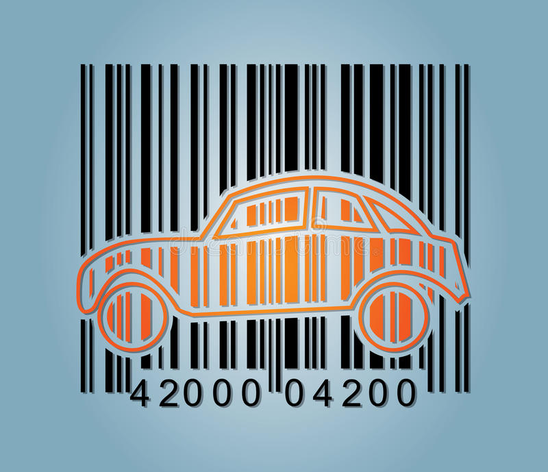 Ba-rcode and abstract car icon stock illustration