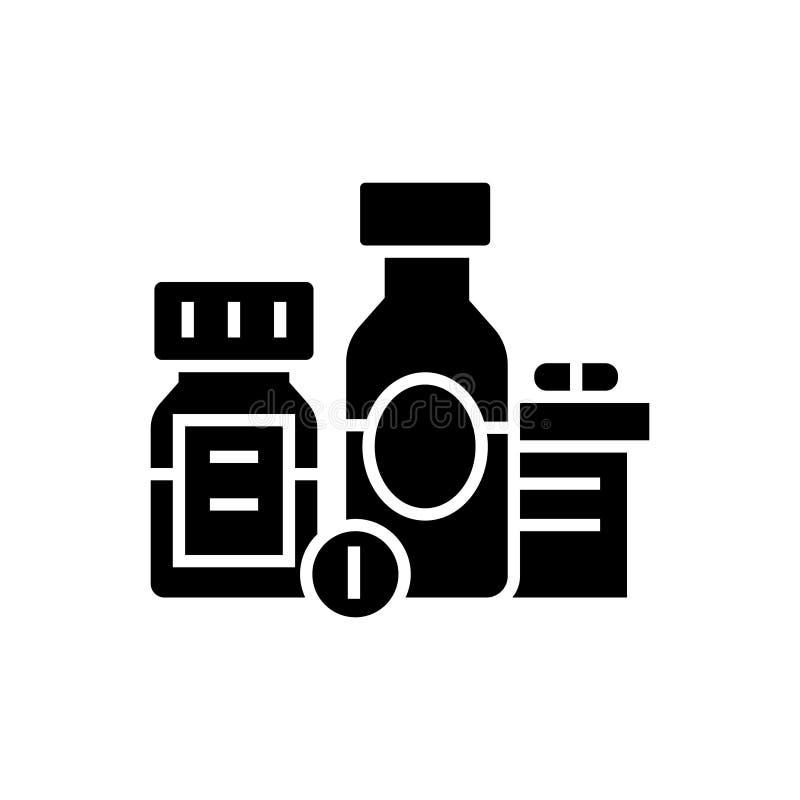 Baa - βιολογικά ενεργές πρόσθετες ουσίες - χάπια - εικονίδιο φαρμάκων, διανυσματική απεικόνιση, μαύρο σημάδι στο απομονωμένο υπόβ ελεύθερη απεικόνιση δικαιώματος