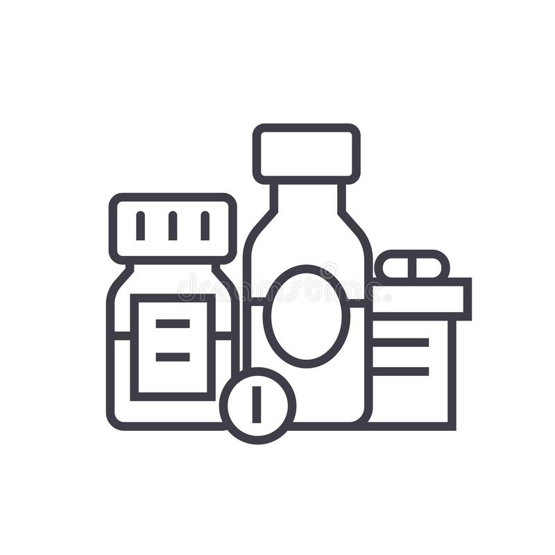 Baa, βιολογικά ενεργές πρόσθετες ουσίες, χάπια, επίπεδη απεικόνιση γραμμών φαρμάκων, απομονωμένο διάνυσμα εικονίδιο έννοιας στο λ διανυσματική απεικόνιση