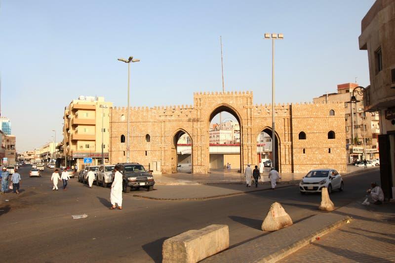 Baab makkah门在吉达Al巴勒阿德历史地方吉达沙特阿拉伯15-06-2018 免版税图库摄影