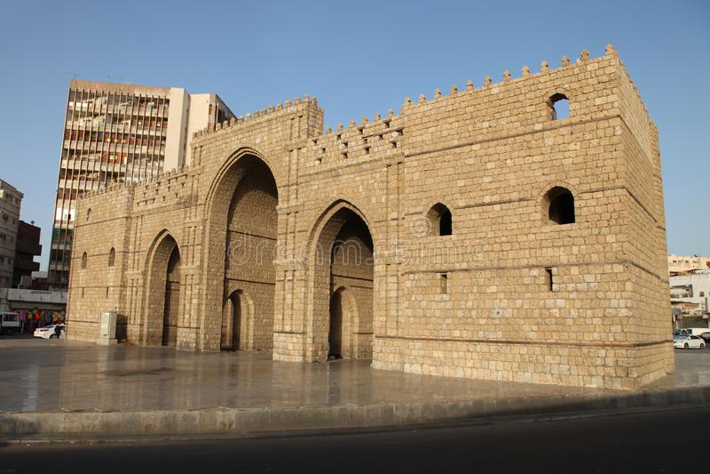 Baab makkah门在吉达Al巴勒阿德历史地方吉达沙特阿拉伯 免版税库存照片