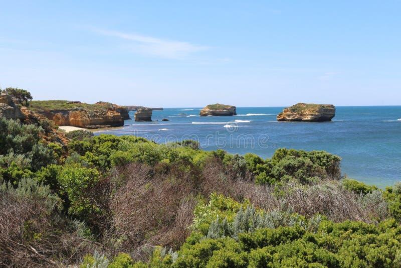 Baai van Eilanden Kustpark bij de Grote Oceaanweg, Victoria, Australië stock foto's