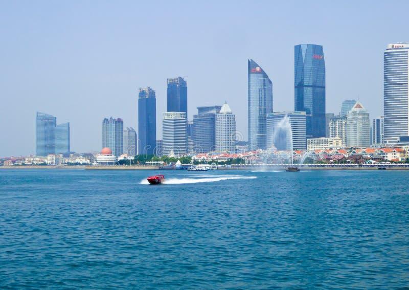 Baai van Fushan van het Qingdao de Olympische Varende Centrum royalty-vrije stock afbeeldingen