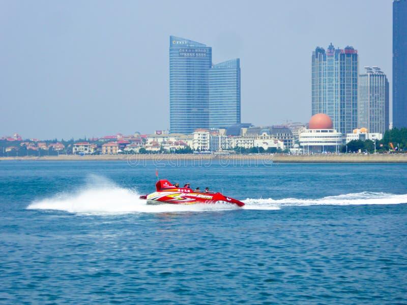 Baai van Fushan van het Qingdao de Olympische Varende Centrum royalty-vrije stock foto