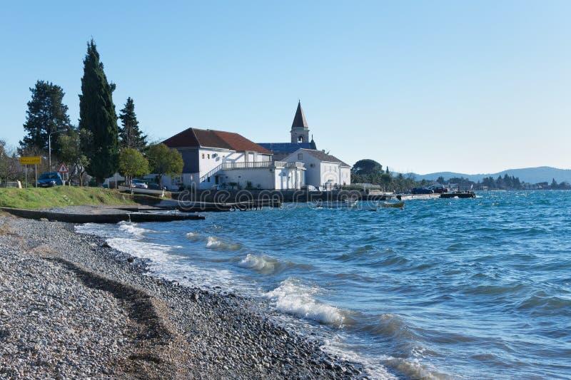 Baai van Kotor De winter in Montenegro royalty-vrije stock foto