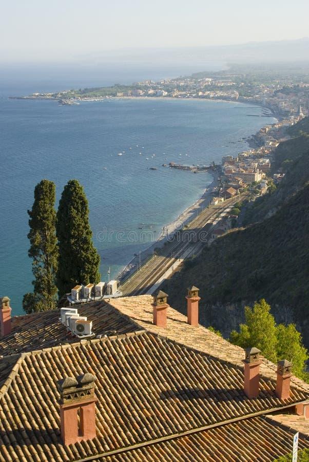 Baai van taormina Sicilië royalty-vrije stock afbeeldingen