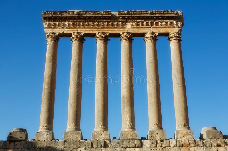 baalbek jupiter tempel arkivbilder