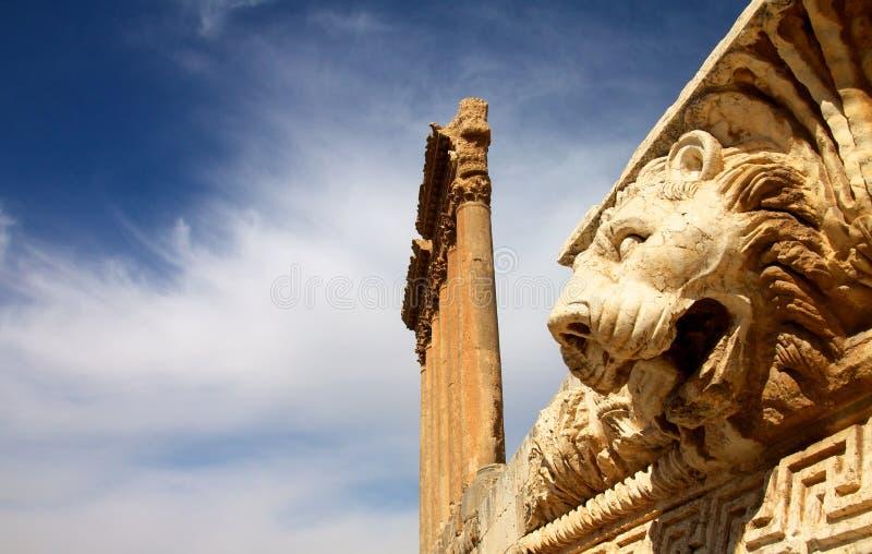 Baalbek, Lebanon. Ruins of Baalbek in Lebanon. The temple of Jupiter royalty free stock photo