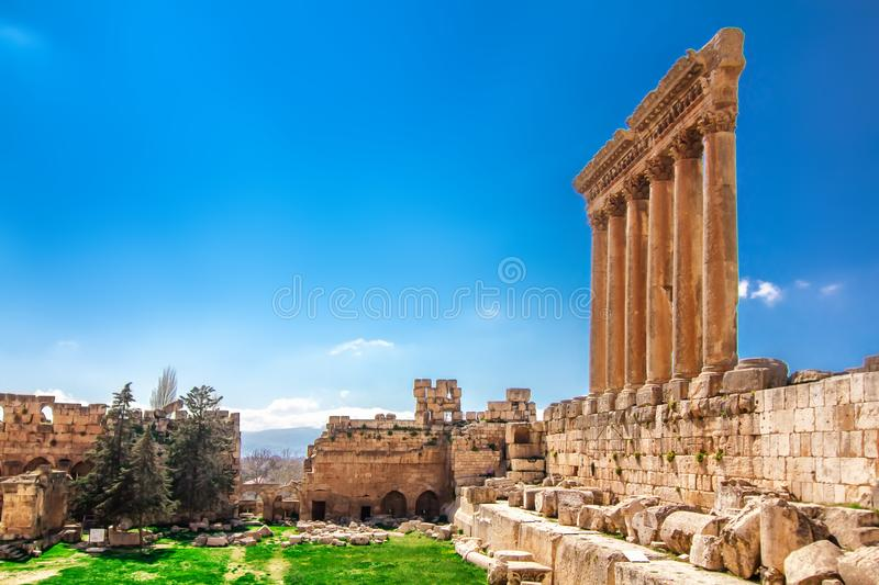 Baalbek, Lebanon. Ancient columns in Baalbek, Lebanon royalty free stock photography