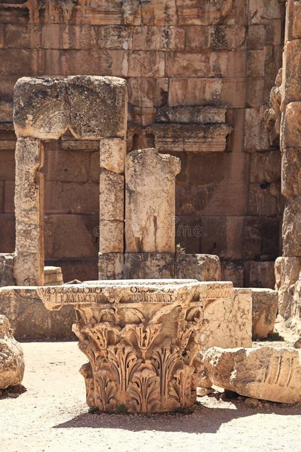 Baalbek Roman Ruins en Líbano imagenes de archivo