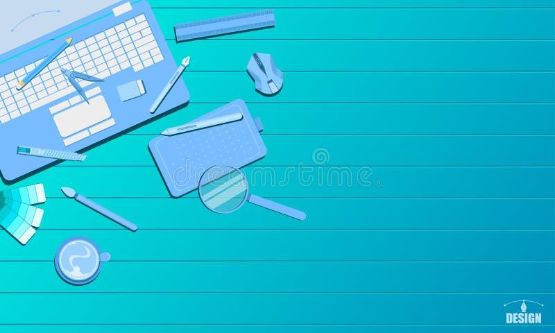 Baan die creatieve van het de studioconcept van het kunstontwerp blauwe de toon vectorillustratie eps10 huren royalty-vrije illustratie