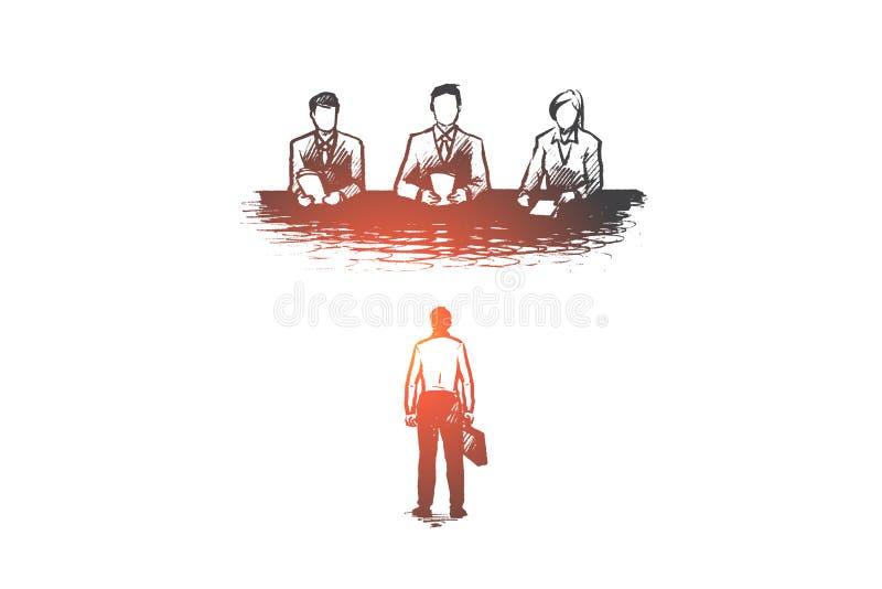 Baan, gesprek, rekrutering, werknemer, u-concept Hand getrokken geïsoleerde vector stock illustratie