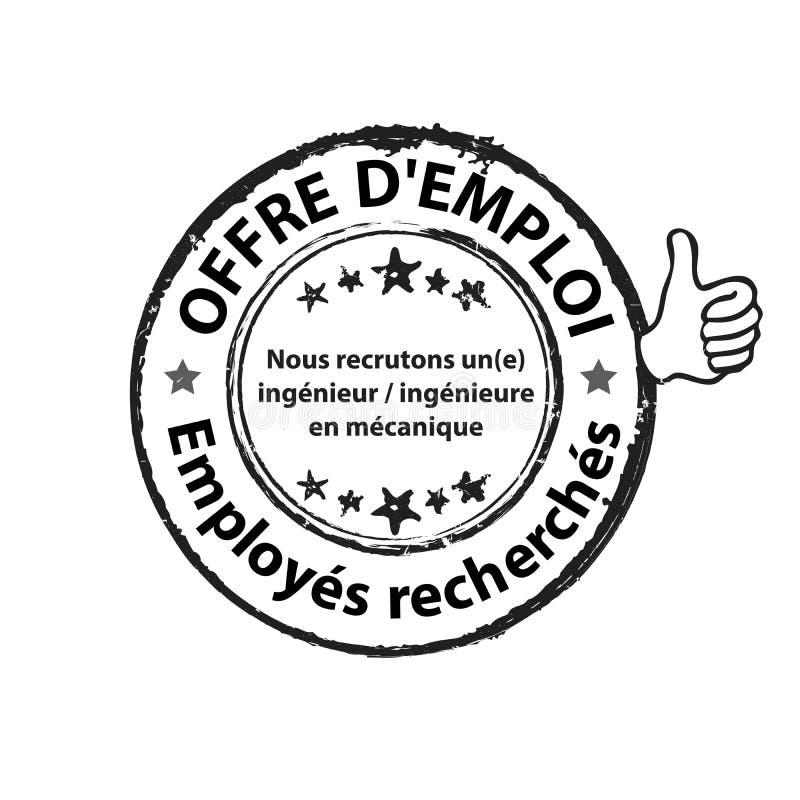 Baan reclameetiket voor de Franse arbeidsmarkt wordt ontworpen - wij huren Mechanische Ingenieur die in stock illustratie