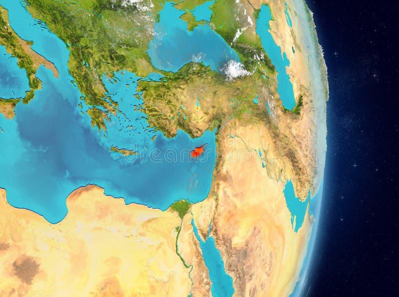 Baanmening van Cyprus in rood royalty-vrije illustratie