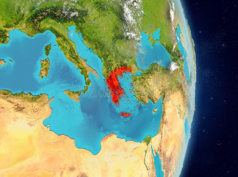 Baanmening van Griekenland in rood stock illustratie