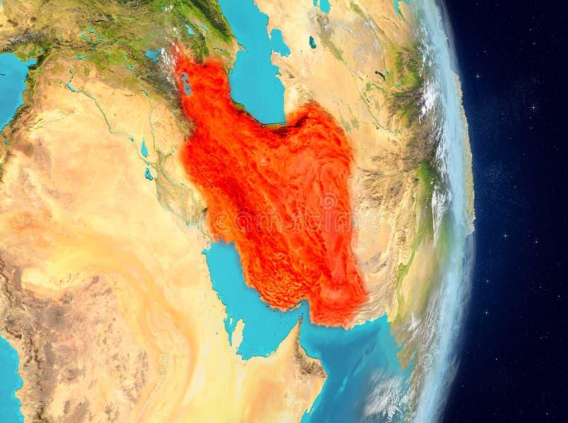 Baanmening van Iran in rood royalty-vrije illustratie