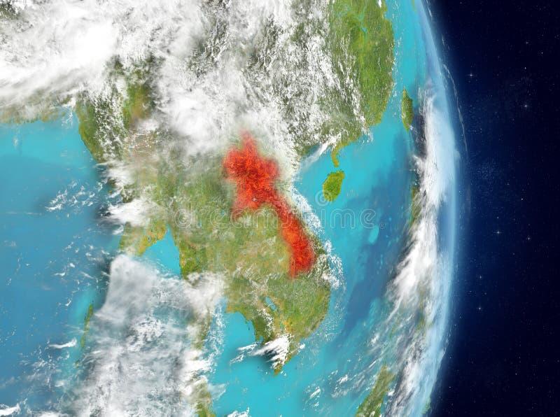 Baanmening van Laos in rood royalty-vrije illustratie