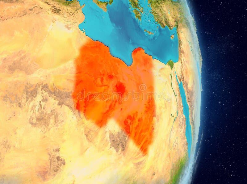Baanmening van Libië in rood vector illustratie