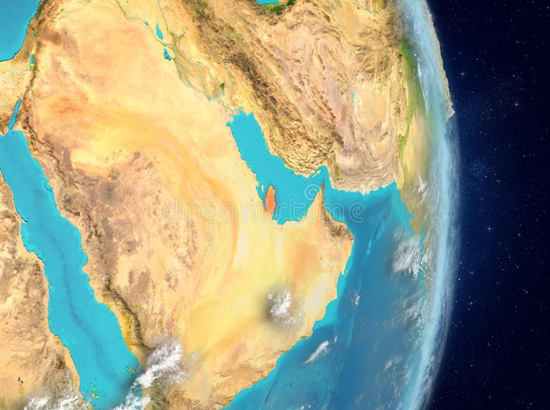 Baanmening van Qatar in rood royalty-vrije illustratie