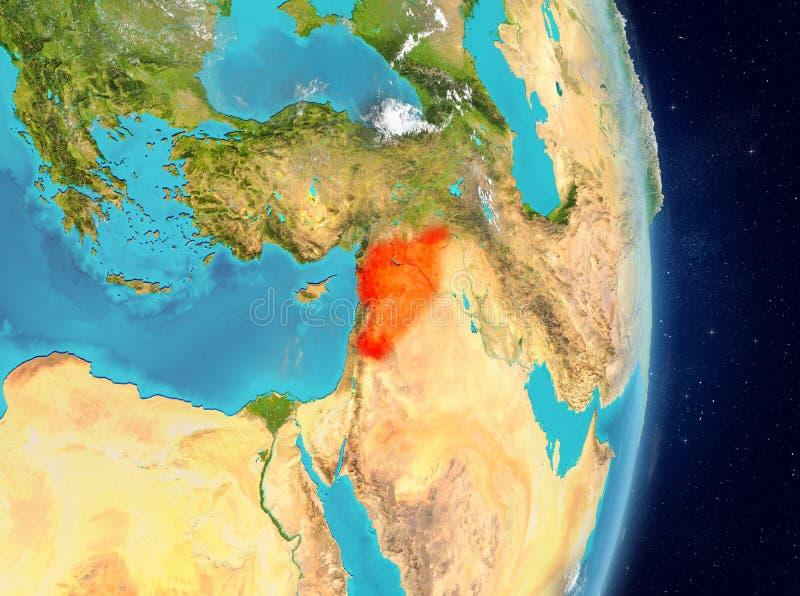 Baanmening van Syrië in rood royalty-vrije illustratie