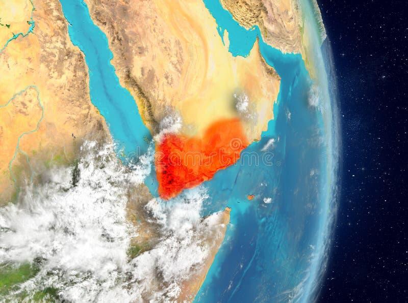 Baanmening van Yemen in rood royalty-vrije illustratie