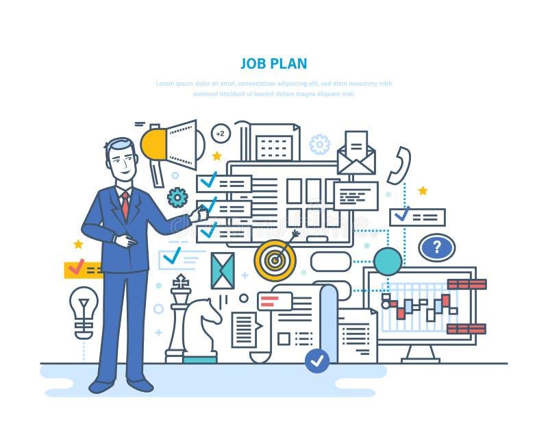 Baanplan Tijdbeheer, plannings bedrijfsdoelstellingen, controle, organisatie stock illustratie