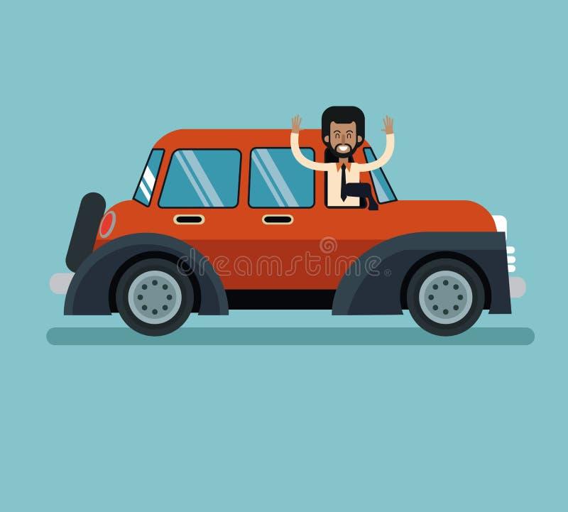 Baard die van de Afro de Amerikaanse mens klassieke automovile glimlachen royalty-vrije illustratie
