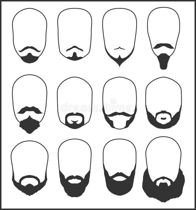 Baard en snor Reeks vectorillustraties vector illustratie