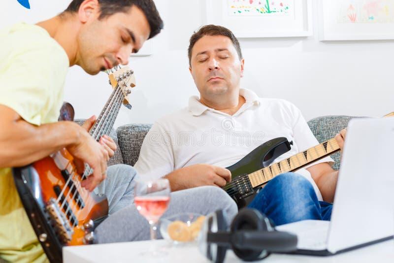 Baarzen en gitaarspeler royalty-vrije stock foto