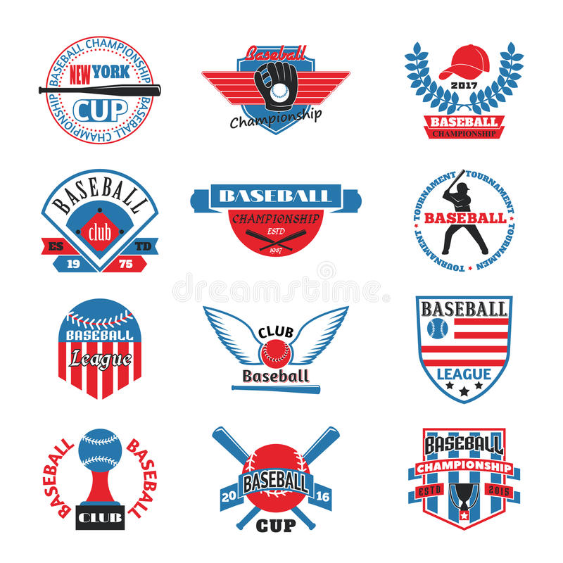 Baaseball badge vector logo. Template logo for baseball sport team with sport sign and symbols. Tournament competition graphic champion baseball team logo badge stock illustration