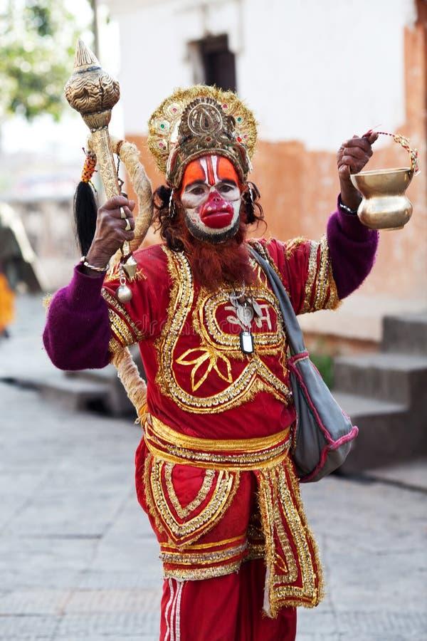 Babá Hindu de Hanuman do sadhu (homem santamente) fotos de stock