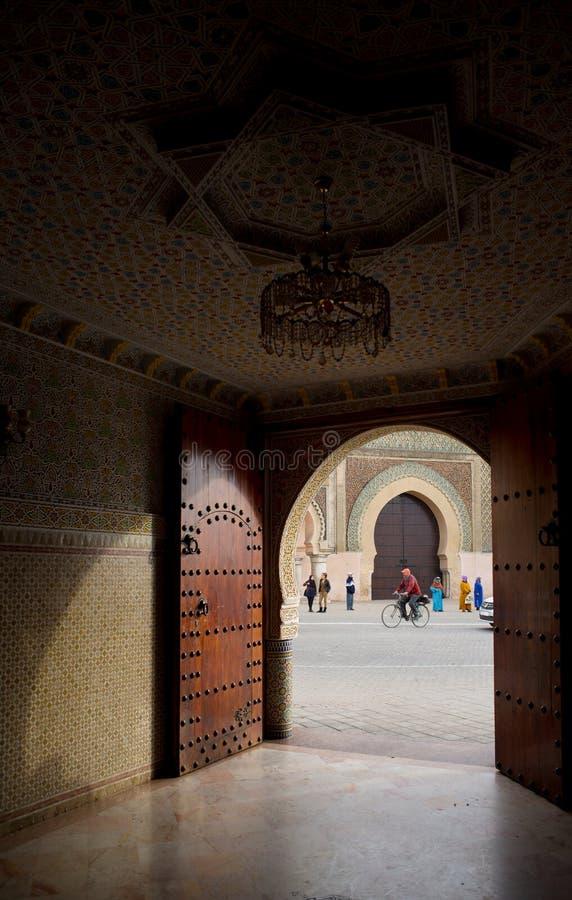 Bab曼索门在梅克内斯,摩洛哥 库存照片