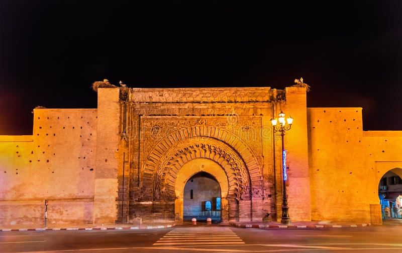 Bab Agnaou, one of the nineteen gates of Marrakesh, Morocco. Bab Agnaou, one of the nineteen gates of Marrakesh - Morocco stock images