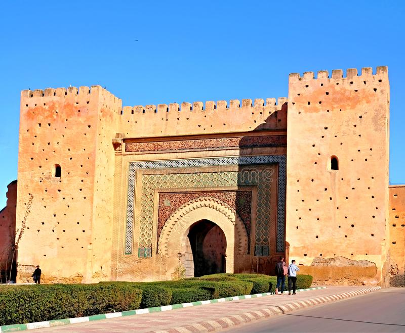 Bab Agnaou -is one of the nineteen gates of Marrakesh, Morocco. It was built in the 12th centrury in the time of the Almohad royalty free stock image