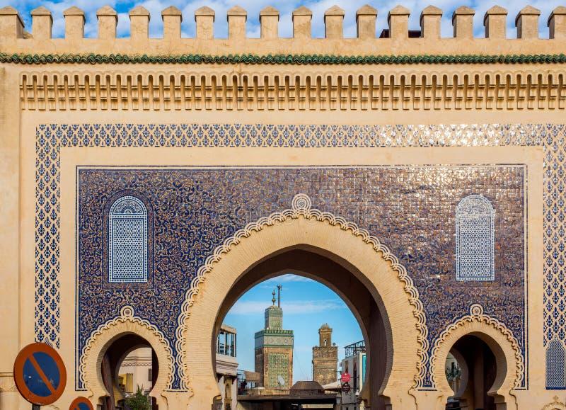 Bab Bou Jeloud EL Bali Medina do fez Fez, Marrocos África imagens de stock royalty free